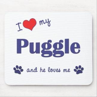 I Love My Puggle (Male Dog) Mouse Pad
