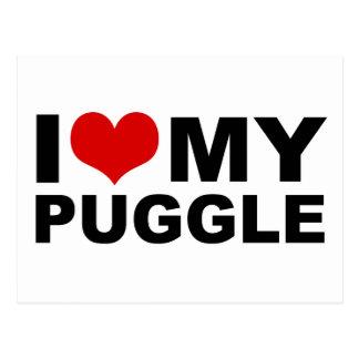 I Love My Puggle Red Heart Postcard