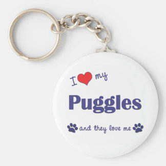 I Love My Puggles (Multiple Dogs) Basic Round Button Keychain