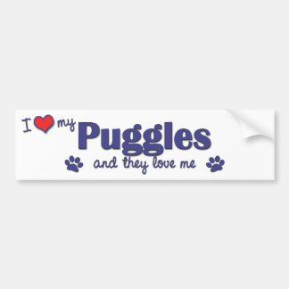 I Love My Puggles (Multiple Dogs) Car Bumper Sticker