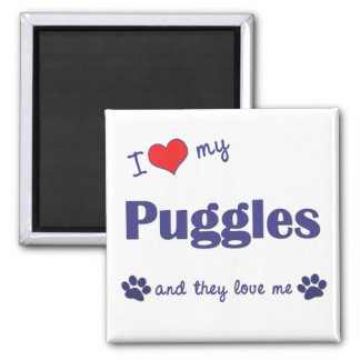 I Love My Puggles (Multiple Dogs) Magnet