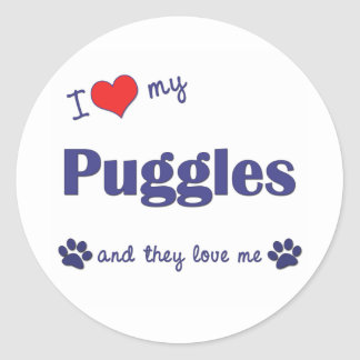 I Love My Puggles (Multiple Dogs) Round Stickers