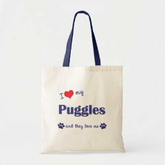 I Love My Puggles (Multiple Dogs) Tote Bag
