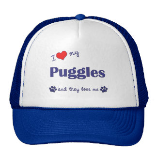 I Love My Puggles (Multiple Dogs) Trucker Hat