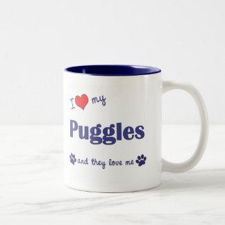 I Love My Puggles (Multiple Dogs) Two-Tone Coffee Mug