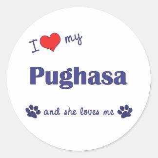 I Love My Pughasa (Female Dog) Round Stickers