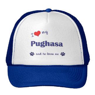 I Love My Pughasa (Male Dog) Hats