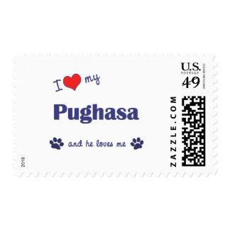 I Love My Pughasa (Male Dog) Postage Stamp