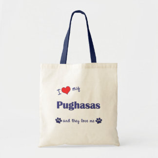 I Love My Pughasas (Multiple Dogs) Canvas Bags