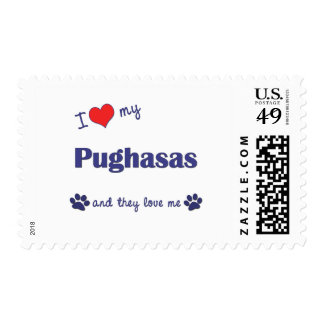 I Love My Pughasas (Multiple Dogs) Postage Stamps