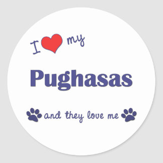 I Love My Pughasas (Multiple Dogs) Round Stickers