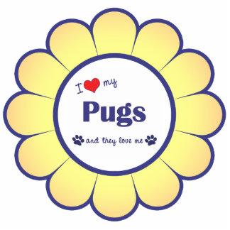 I Love My Pugs (Multiple Dogs) Photo Sculpture Ornament