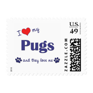 I Love My Pugs (Multiple Dogs) Stamps