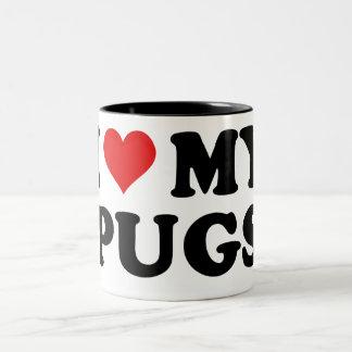 I Love My Pugs Two-Tone Coffee Mug