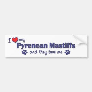 I Love My Pyrenean Mastiffs (Multiple Dogs) Bumper Stickers