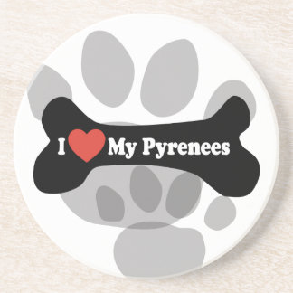 I Love My Pyrenees - Dog Bone Beverage Coaster