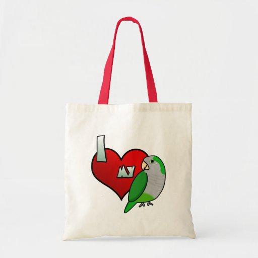 I Love my Quaker Parrot Canvas Bag