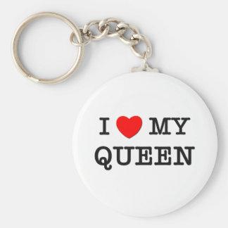 I Love My QUEEN Basic Round Button Keychain