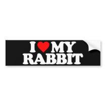 I LOVE MY RABBIT BUMPER STICKER