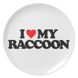 I LOVE MY RACCOON DINNER PLATE