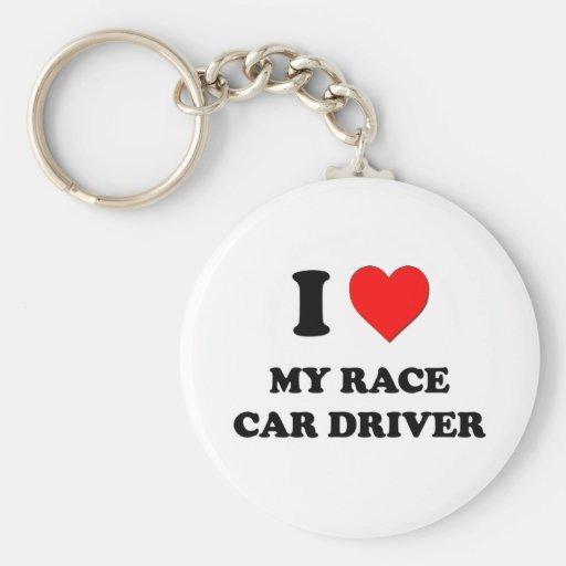 I love My Race Car Driver Basic Round Button Keychain