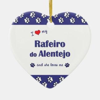 I Love My Rafeiro do Alentejo (Female Dog) Double-Sided Heart Ceramic Christmas Ornament