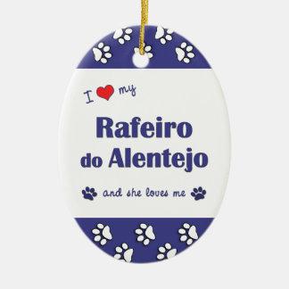 I Love My Rafeiro do Alentejo (Female Dog) Double-Sided Oval Ceramic Christmas Ornament