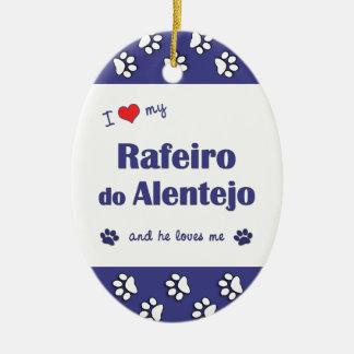 I Love My Rafeiro do Alentejo (Male Dog) Double-Sided Oval Ceramic Christmas Ornament