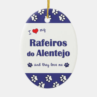 I Love My Rafeiros do Alentejo (Multiple Dogs) Double-Sided Oval Ceramic Christmas Ornament