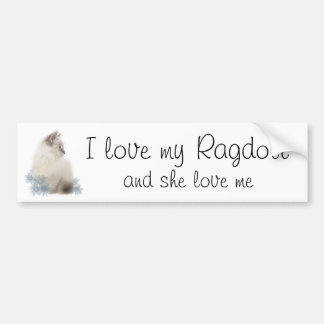 I love my ragdoll car bumper sticker