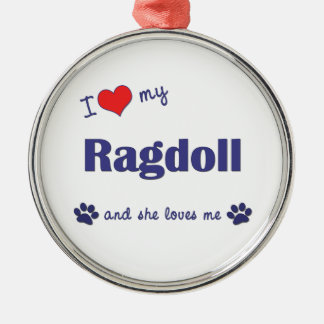 I Love My Ragdoll (Female Cat) Christmas Tree Ornaments