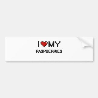 I Love My Raspberries Digital design Car Bumper Sticker