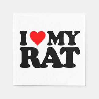 I LOVE MY RAT STANDARD COCKTAIL NAPKIN