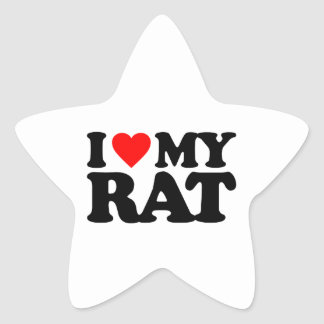 I LOVE MY RAT STAR STICKER