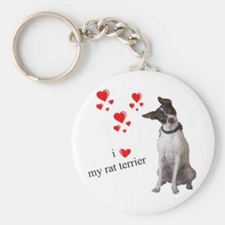 I Love my Rat Terrier Basic Round Button Keychain
