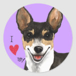 I Love my Rat Terrier Classic Round Sticker