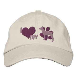 I Love my Rat Terrier Embroidered Hat (Purple)
