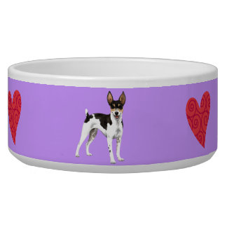 I Love my Rat Terrier Dog Water Bowl