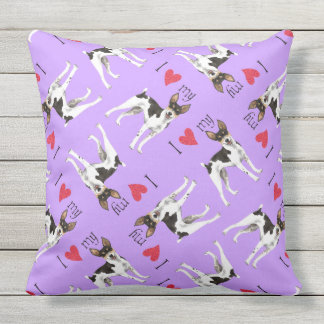 I Love my Rat Terrier Throw Pillow