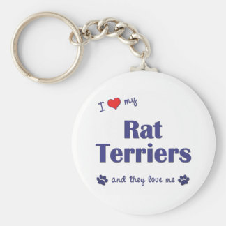 I Love My Rat Terriers (Multiple Dogs) Basic Round Button Keychain