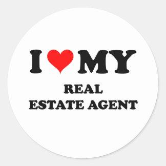 I Love My Real Estate Agent Classic Round Sticker