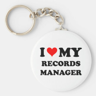 I Love My Records Manager Key Chain