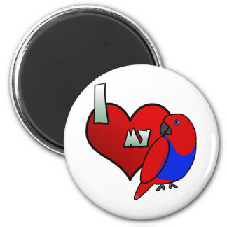 I Love my Red Sided Eclectus 2 Inch Round Magnet