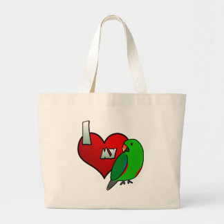 I Love my Red Sided Eclectus Large Tote Bag