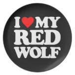 I LOVE MY RED WOLF DINNER PLATE