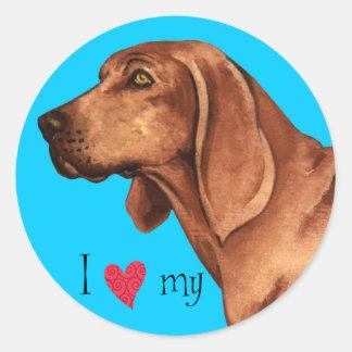 I Love my Redbone Coonhound Classic Round Sticker