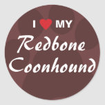 I Love My Redbone Coonhound Classic Round Sticker