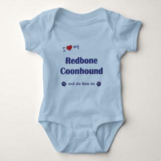 I Love My Redbone Coonhound (Female Dog) Baby Bodysuit