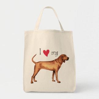 I Love my Redbone Coonhound Tote Bag