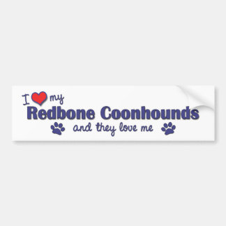 I Love My Redbone Coonhounds (Multiple Dogs) Car Bumper Sticker